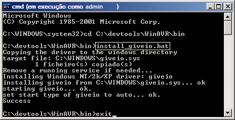 Dump of command line installation of giveio driver