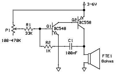 Relaxation oscillator diagram.